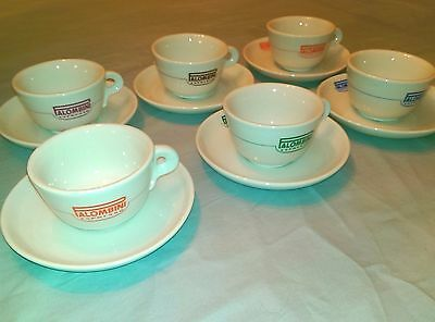 Palombini Espresso Coffee Cup and Saucer Porcellana Vera Set of 6 New In Box