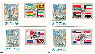 United Nations 1981 Flags SG 359/74 4 Art FDC (UNICEF)