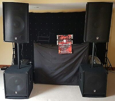 Wedding Disco PA Speakers Subs with Amp System 1.4k