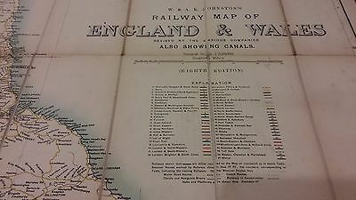 W & AK Johnston's Railway Map of England & Wales with Canals 1910s/20s