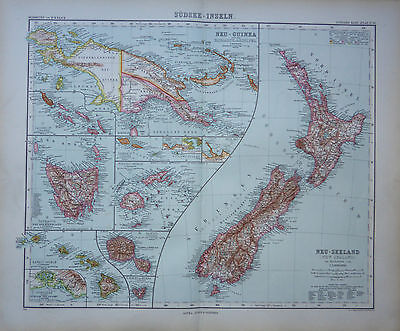 A detailed map of New Zealand & South Sea Islands by Adolf Stieler