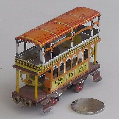 Vintage Tin Plate Double Decker Tram - Zz Toys - Made In Germany