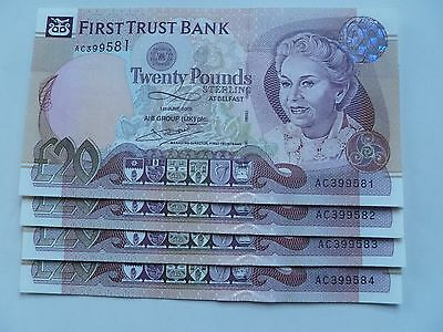 Northern Ireland + First Trust Bank + 2009 + £20 notes + In Sequence  +  UNC