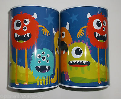 2 x Monster Money Tins Saving up Money Box boxes  New