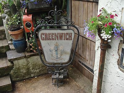 Antique Vintage Cast Sign.GREENWICH London royal park, hand painted.1880 1930s