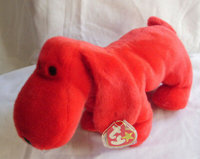 """TY Beanie Buddy Rover 12"""" Large Red Dog Plush Mint With Tags 1998 Retired"""