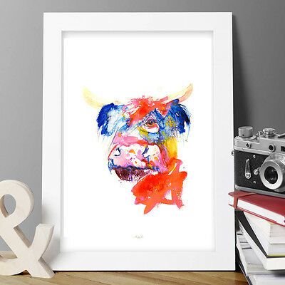 Watercolour highland cow moo painting print modern art,wall decor,gift birthday