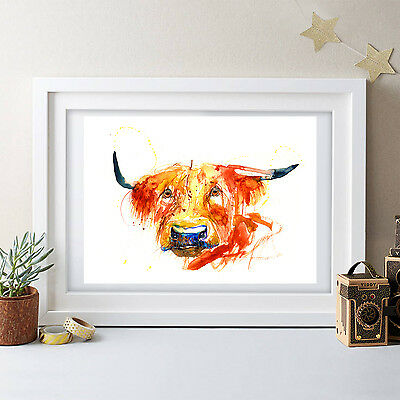 Watercolour highland cow painting print modern art,wall decor,gift birthday,2017