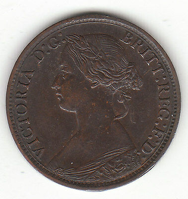 1867 Great Britain Queen Victoria 1 One Farthing.  High Grade.
