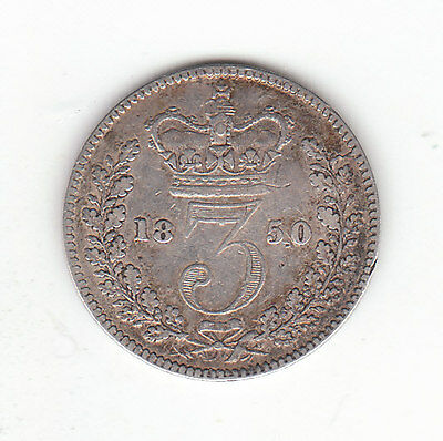 1850 Great Britain Queen Victoria Silver Threepence.
