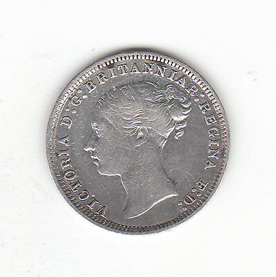 1878 Great Britain Queen Victoria Silver Threepence.