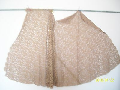 """Vintage Panel  of Cotton Tan Lace with Scalloped Edges. 48"""" x 130"""""""