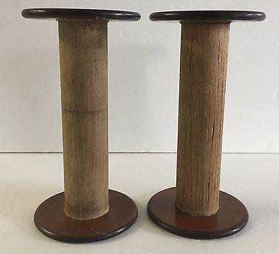 Vintage Lot Of 2 Wood Thread Spools Industrial Textile Wooden Display Hat Stands