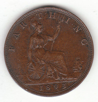 1893 Great Britain Queen Victoria 1 One Farthing.  Nice Grade.