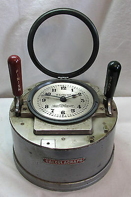 Vintage 1926 Calculagraph Time Clock Model 110 Harrison NJ Nautical Look WORKS!
