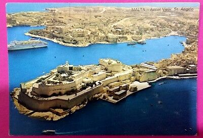 Malta postcard: Aerial view, St. Angelo, posted.