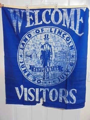 "Land of Abraham Lincoln Capitennial Memorial Banner Flag ""WELCOME VISITORS"" 1957"