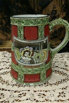 Antique Nippon Pottery Stein, Hand Painted Moriage