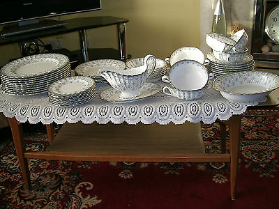 Spode Fleur De Lys ( Grey ) 47 Piece Dinner Service. First Quality