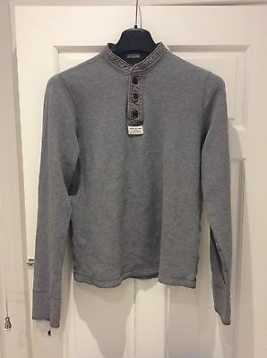 Mens Abercrombie, T-shirt, Long Sleeve, Large, Grey, Button Up