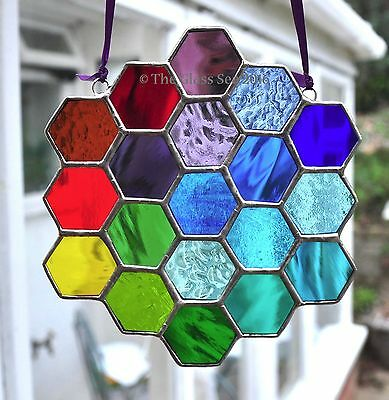 Rainbow Colours Bee Honeycomb Stained Glass Art Suncatcher By The Glass Sea