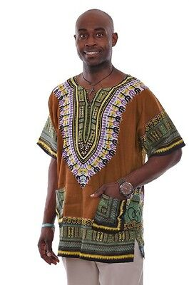 Plus Size Brown Unisex Dashiki Shirt DP3757M M, L, XL ,2X, 3X, 4X, 5X, 6X, 7X