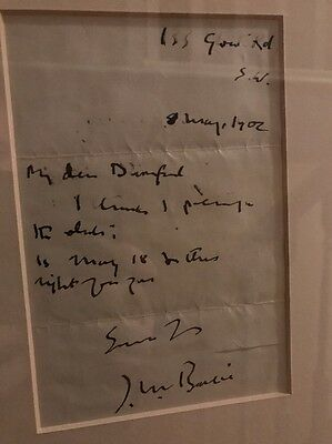 J M Barrie Hand Signed Letter - Peter Pan Author / Autograph **offers Welcome **