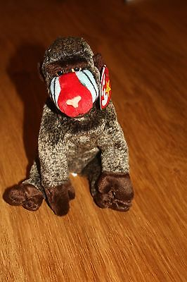 Genuine ty Beanie Baby - Cheeks the Baboon   Great value collectable soft toy