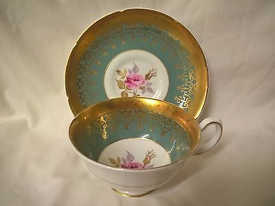 Vintage Royal Grafton Cabinet Tea Cup & Saucer Duo - Teal Green/Gold/Floral