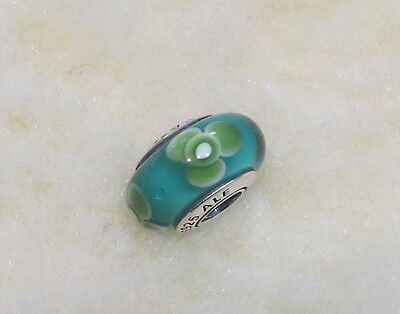 """PANDORA """"Teal Flowers for You"""" Murano Charm (STERLING SILVER 925)"""