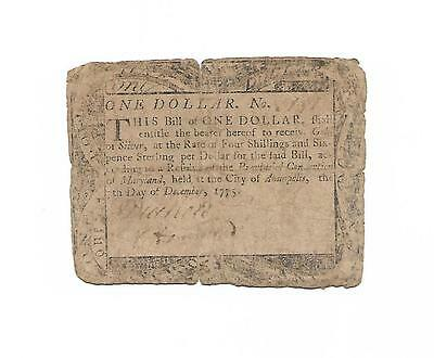 """Orig. 1775 Colonial Currency Note """"ONE DOLLAR""""  Annapolis, MD 1775"""