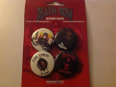 1 X Death Row Records 38mm Badges 4 In The Pack Dr. Dre 2Pac Snoop