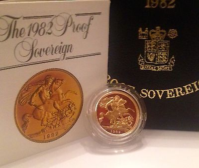 1982 Gold Proof Full Sovereign -FDC- Boxed With COA