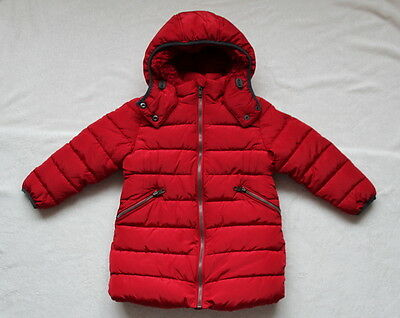 ***BNWT Next girl Dark Red long padded fleece lined coat jacket 5 years***