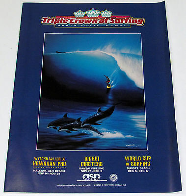 Mint 1991 Triple Crown Surfing Contest Hawaii Tom Curren Eddie Aikau Program