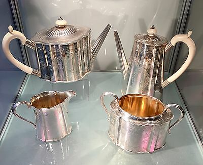 STERLING SILVER VICTORIAN ENGLISH TEAPOT & COFFEE SET c.1875 SAMUEL SMILY LONDON