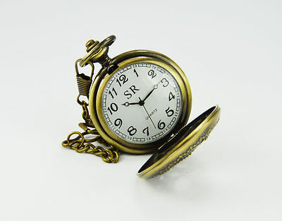 Handmade Vintage Replica pink Flower Designed Pocket Watch with long chain