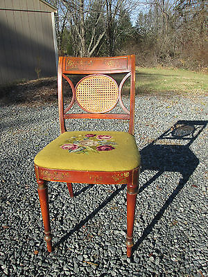 Antique American 19Th C Painted Cane Sheraton/victorian Chair Needlepoint Seat