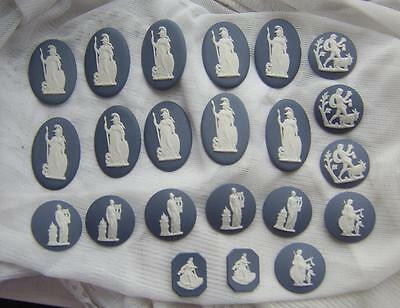 Big LOT of 22 Unmounted WEDGWOOD Dark Blue Jasperware Cameo Plaques for Mounting