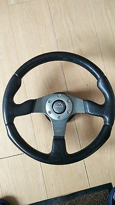 """Momo Race 14"""" Leather Steering Wheel and Boss for Ford Sierra"""
