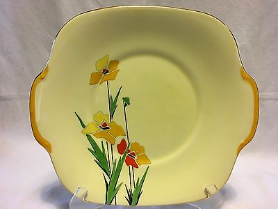 Vintage Art Deco Crown Staffordshire Hand Painted Cake Plate
