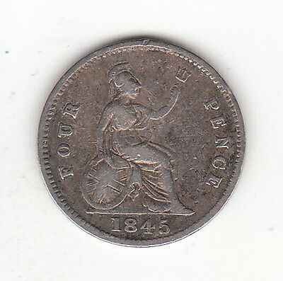 1845 Great Britain Queen Victoria Silver  Fourpence.  Scarce.