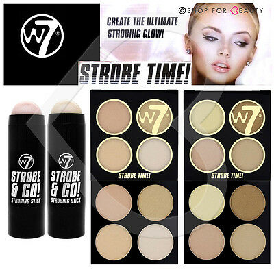 W7 Strobing Highlighter Strobe Bronzing Shimmer Cream Stick & Powder Palettes