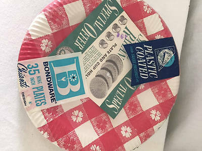 """NEW Bondware 35 9"""" Plastic Coated Picnic Paper Plates Red Check Vintage New in P"""