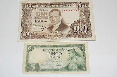 A 1953 and 1954 Banknote from Spain.