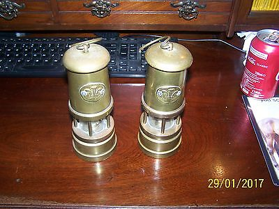 A Pair Of Brass Miners Lamps