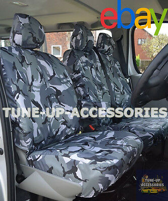 Renault Master Van 2010 On Seat Covers Camouflage Dpm Camo Grey Heavy Duty 2-1