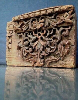 ANTIQUE/VINTAGE INDIAN, HAND-CARVED LINTEL SECTION. PEACOCK MOTIF. 18th CENTURY