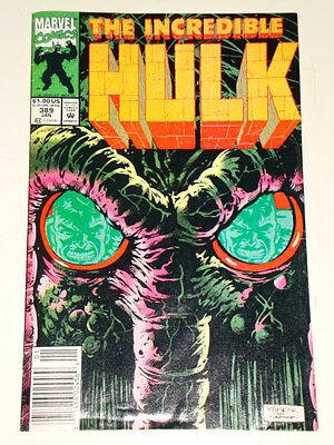 Marvel Hulk The Incredible Issue # 389 Jan 1992 'of Man And Man-Thing' Av-Gd Con