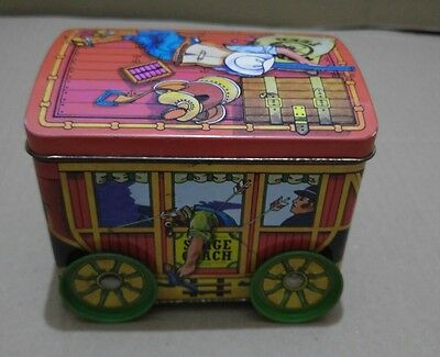 "Vintage ""stage coach"" tin with functioning wheels RARE"